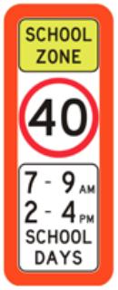 40 school zone speed limit sign